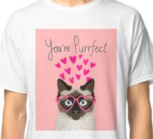 Siamese Cat valentines day love hearts gift for cat lady cute kitten funny cats Classic T-Shirt