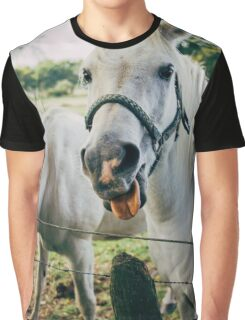 White Horse Sticking Out Tongue Graphic T-Shirt