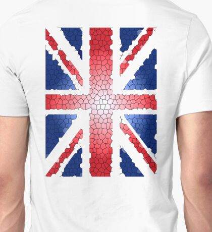 CRACKED, Union Jack, Stained, Glass, effect, UK, Flag, BRITAIN, BLIGHTY, BRITISH,  Unisex T-Shirt