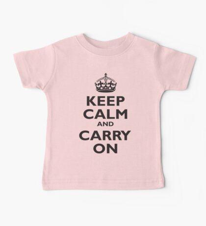 KEEP CALM, & CARRY ON, BE BRITISH, BLIGHTY, UK, WWII, PROPAGANDA, IN BLACK Baby Tee