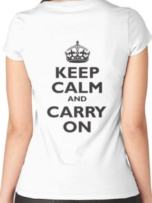KEEP CALM, & CARRY ON, BE BRITISH, BLIGHTY, UK, WWII, PROPAGANDA, IN BLACK Women's Fitted Scoop T-Shirt