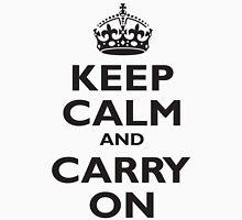 KEEP CALM, & CARRY ON, BE BRITISH, BLIGHTY, UK, WWII, PROPAGANDA, IN BLACK Unisex T-Shirt