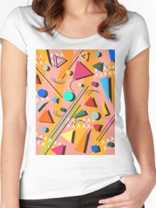 80s pop retro pattern Women's Fitted Scoop T-Shirt