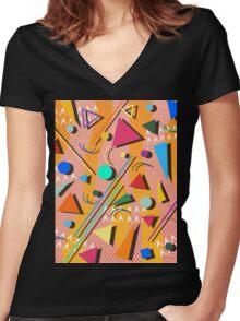 80s pop retro pattern Women's Fitted V-Neck T-Shirt