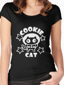 Cookie Cat - Black & White w/ text Women's Fitted Scoop T-Shirt