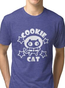 Cookie Cat - Black & White w/ text Tri-blend T-Shirt