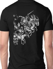 Apocalypse, Durer, Four Horsemen of the Apocalypse, Revenge, Biblical, Prophesy, White on Black Unisex T-Shirt