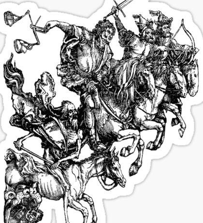 Apocalypse, Durer, Four Horsemen of the Apocalypse, Revenge, Biblical, Prophesy, White on Black Sticker