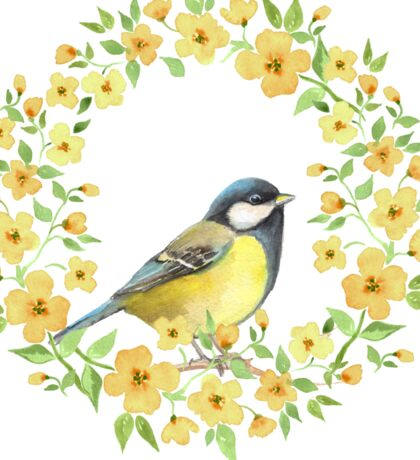Cute small bird and yellow flowers Sticker