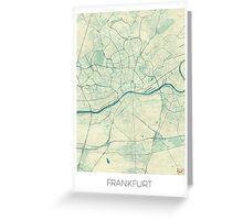 Frankfurt Map Blue Vintage Greeting Card