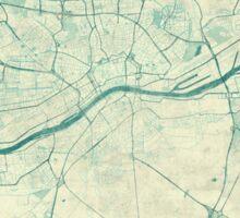 Frankfurt Map Blue Vintage Sticker