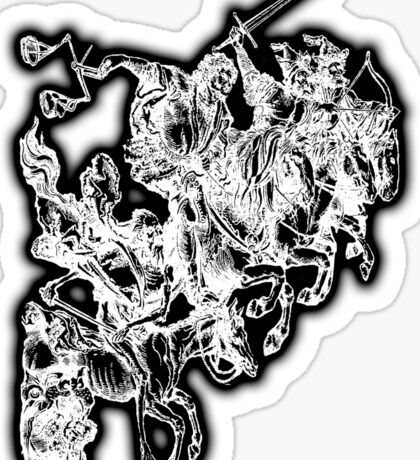 Apocalypse, Four horsemen of the Apocalypse, 4 Horsemen, Durer, Biblical, Bible, Vengeance, White on Black Sticker