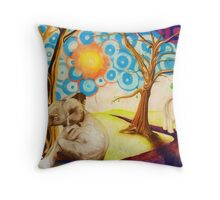 Psychedelic Elephants Throw Pillow