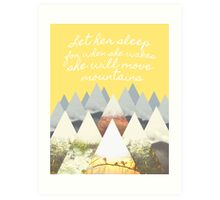 She Moves Mountains - Yellow Art Print