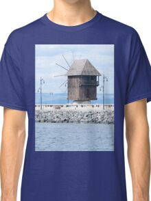 Nesebar, Bulgaria. Landscape with old wooden windmill. Ancient town Nesebar, Bulgaria. Black Sea coast in sunny day Classic T-Shirt