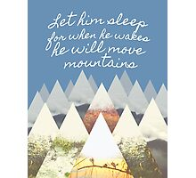 He Moves Mountains - Blue Photographic Print