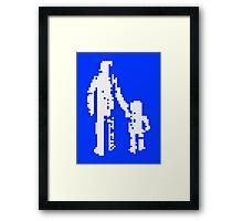 1 bit pixel pedestrians (white) Framed Print