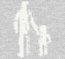 1 bit pixel pedestrians (white) One Piece - Long Sleeve