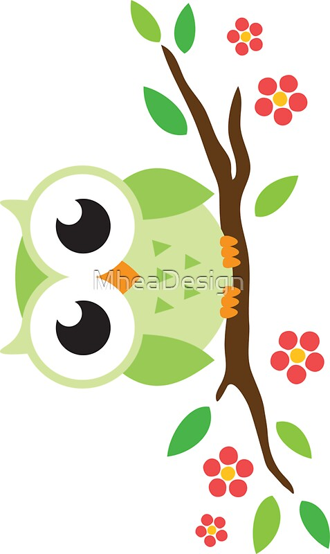 Quot Cute Green Cartoon Owl On Floral Branch Sticker Quot Stickers