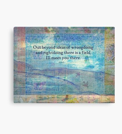 Rumi Friendship Peace Quote landscape iznik tiles  Canvas Print