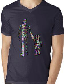8 bit pixel pedestrians (color on black) Mens V-Neck T-Shirt