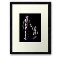 8 bit pixel pedestrians (color on black) Framed Print