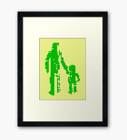 1 bit pixel pedestrians (green) Framed Print