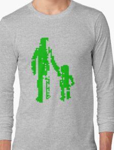 1 bit pixel pedestrians (green) Long Sleeve T-Shirt
