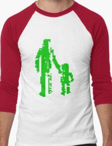 1 bit pixel pedestrians (green) Men's Baseball ¾ T-Shirt