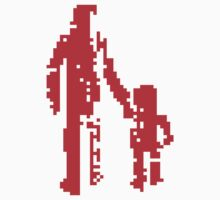 1 bit pixel pedestrians (red) One Piece - Short Sleeve