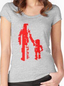 1 bit pixel pedestrians (red) Women's Fitted Scoop T-Shirt