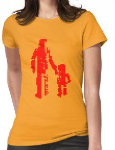 1 bit pixel pedestrians (red) Womens Fitted T-Shirt
