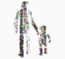 8 bit pixel pedestrians (color on white) Kids Clothes