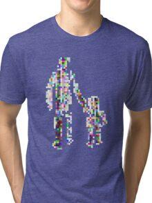 8 bit pixel pedestrians (color on white) Tri-blend T-Shirt