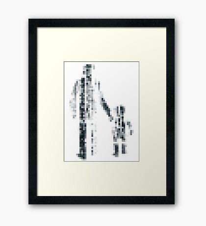 8 bit pixel pedestrians (dark) Framed Print