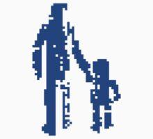 1 bit pixel pedestrians (blue) One Piece - Short Sleeve