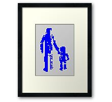1 bit pixel pedestrians (blue) Framed Print