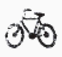 8 bit pixel bike (gray on white) One Piece - Short Sleeve