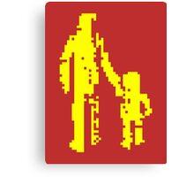 1 bit pixel pedestrians (yellow) Canvas Print