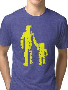 1 bit pixel pedestrians (yellow) Tri-blend T-Shirt