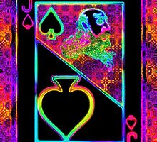 Double Neon Jack of Clubs by ronmockjunior