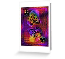 Doube Neon Queen of Clubs Greeting Card