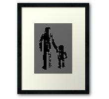 1 bit pixel pedestrians (black) Framed Print