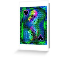 Double Neon Queen of Hearts Greeting Card