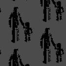 1 bit pixel pedestrians (black) by Pekka Nikrus