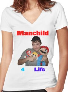 Manchild 4 Life Women's Fitted V-Neck T-Shirt