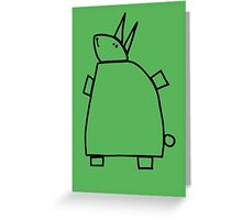 The green rabbit (outline black) Greeting Card