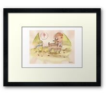 Deers and Balloon Boy Framed Print