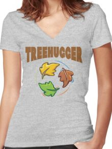 "Earth Day ""Treehugger"" Women's Fitted V-Neck T-Shirt"