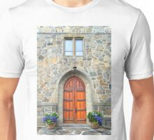 Woodstock Vermont, Church Doors Unisex T-Shirt